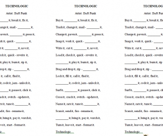 Song Worksheet: Technologic by Draft Punk