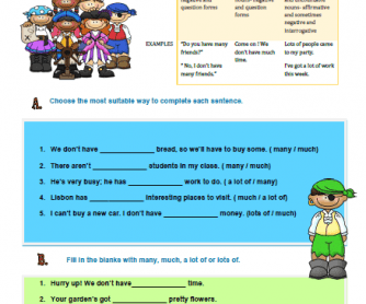 Much, Many or a Lot of- Worksheet