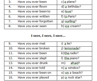 Song Worksheet: Have You Ever...?