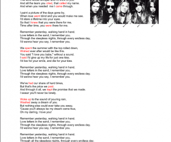 Song Worksheet: I Remember You by Skid Row