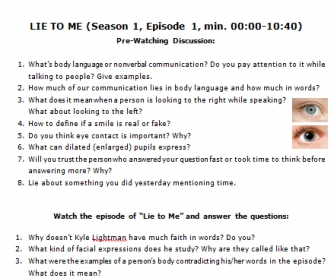Movie Worksheet: Lie to Me. The Secrets of Body Language