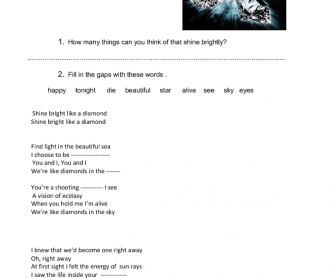 Songworksheet: Diamonds by Rihanna