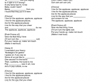 Song Worksheet: Applause by Lady Gaga