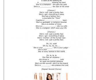 Song Worksheet: Not Just a Pretty Face by Shania Twain