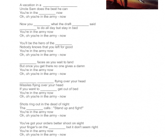 Song Worksheet: In The Army Now by Status Quo