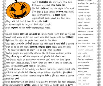 Halloween Worksheet. History and Games for French Students
