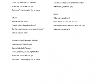 Song Worksheet: Where Are You From