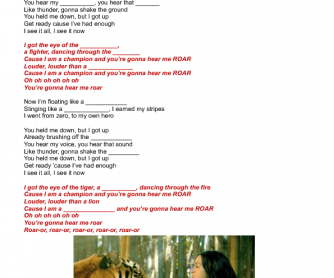 Song Worksheet: Roar by Katy Perry