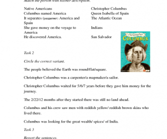 Movie Worksheet: Christopher Columbus