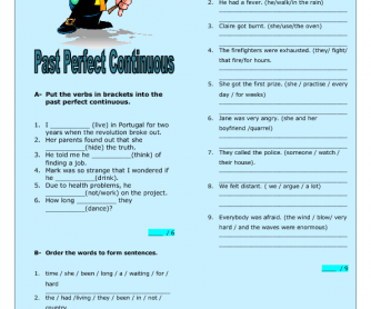 Past Perfect Continuous Intermediate Worksheet