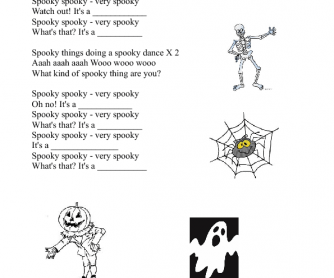 Song Worksheet Halloween Vocabulary
