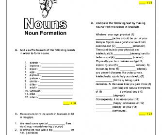 Noun Formation: Intermediate Worksheet
