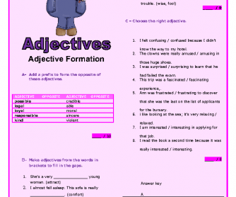 Adjective Formation: Intermediate Worksheet