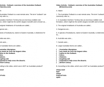 Movie Worksheet: Outback- Overview of the Australian Outback