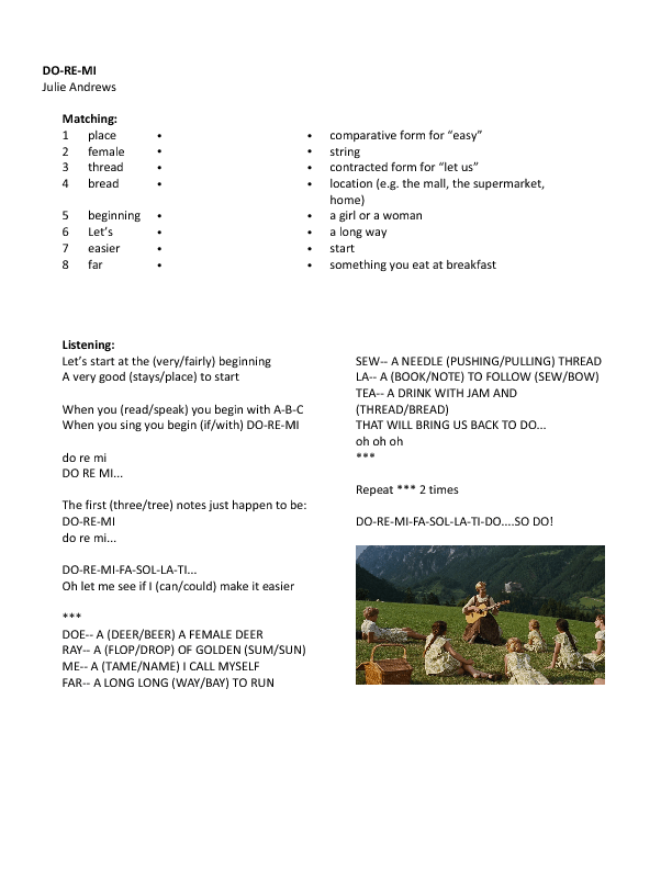 Worksheet Do Re Mi From The Sound Of Music Beginners