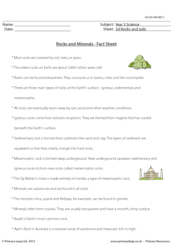 Rocks And Minerals Fact Sheet