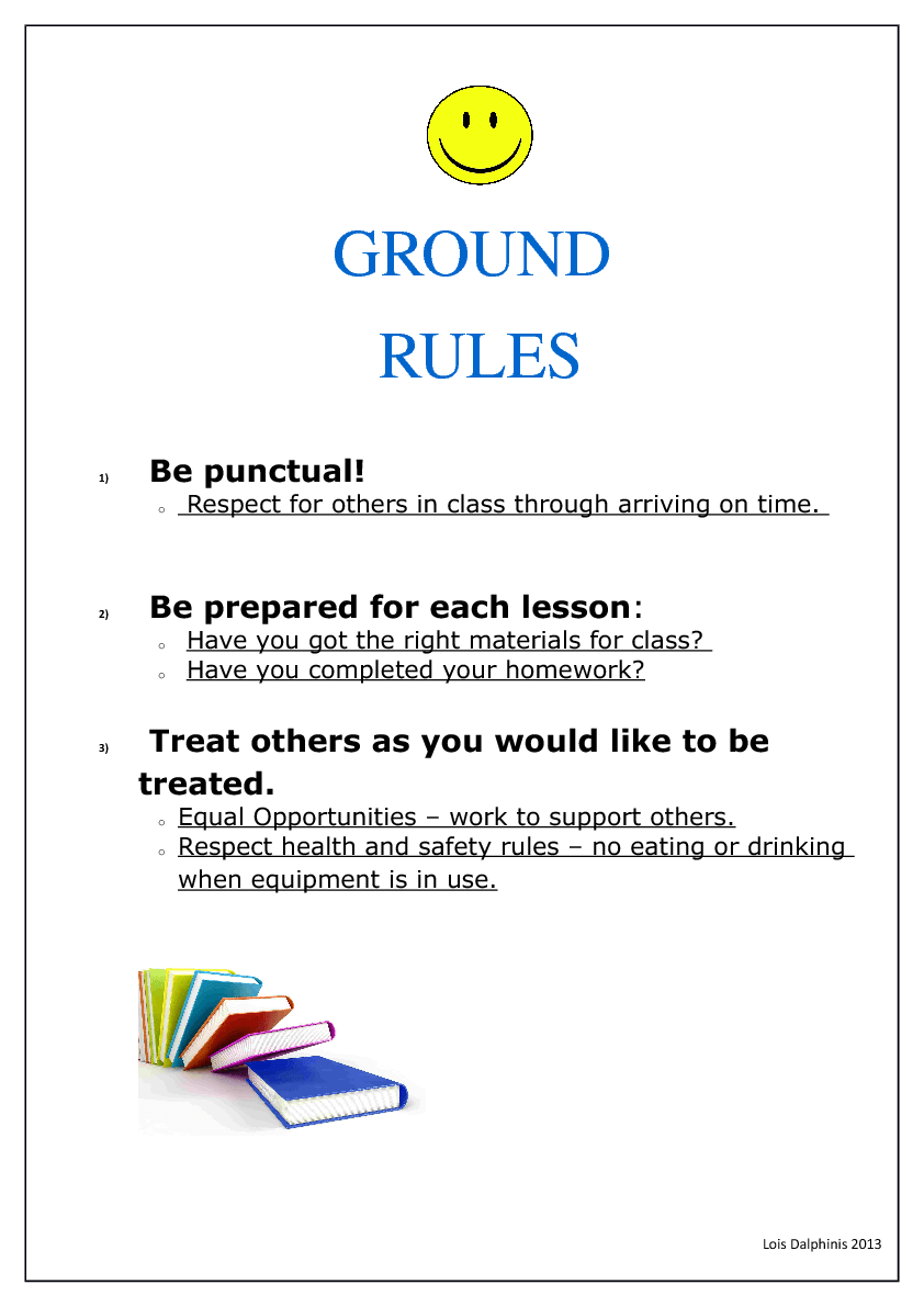 ground rules in the classroom Setting ground rules teachers need to establish an appropriate micro-culture within the group this includes the physical environment, the psychological climate, the.
