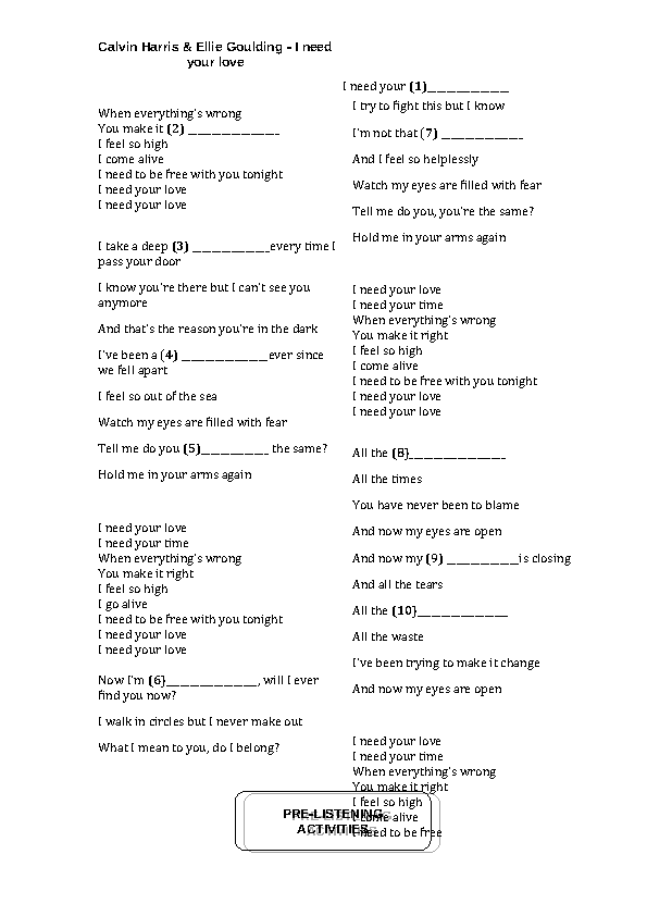 Lyric ellie goulding my blood lyrics : Worksheet:I Need Your Love