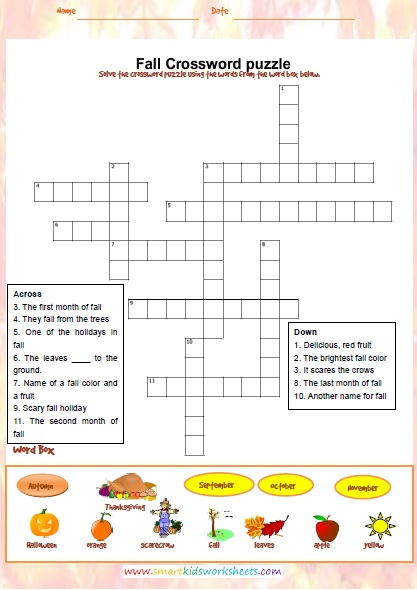 It is a photo of Fall Crossword Puzzle Printable intended for 7th grade