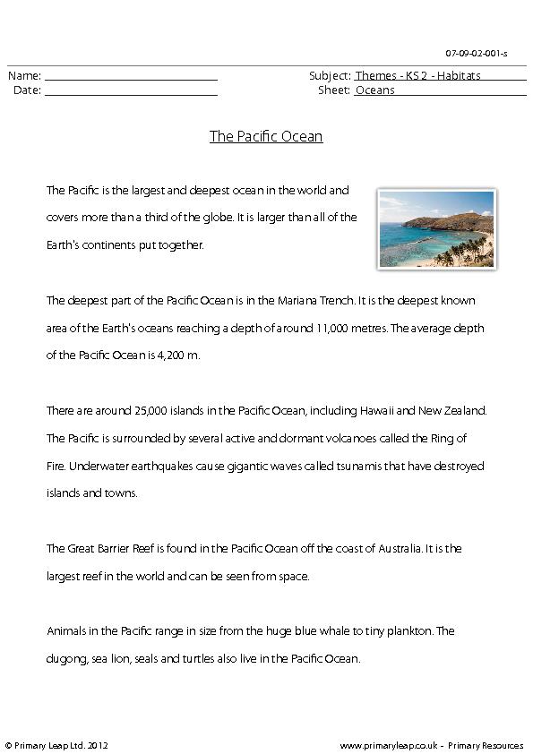 Comprehension - The Pacific Ocean