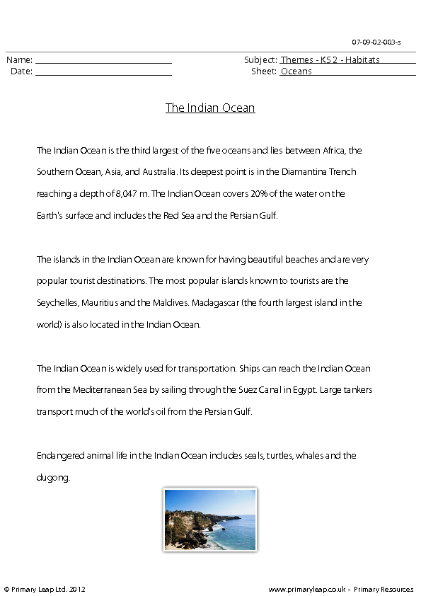 Reading Comprehension The Indian Ocean