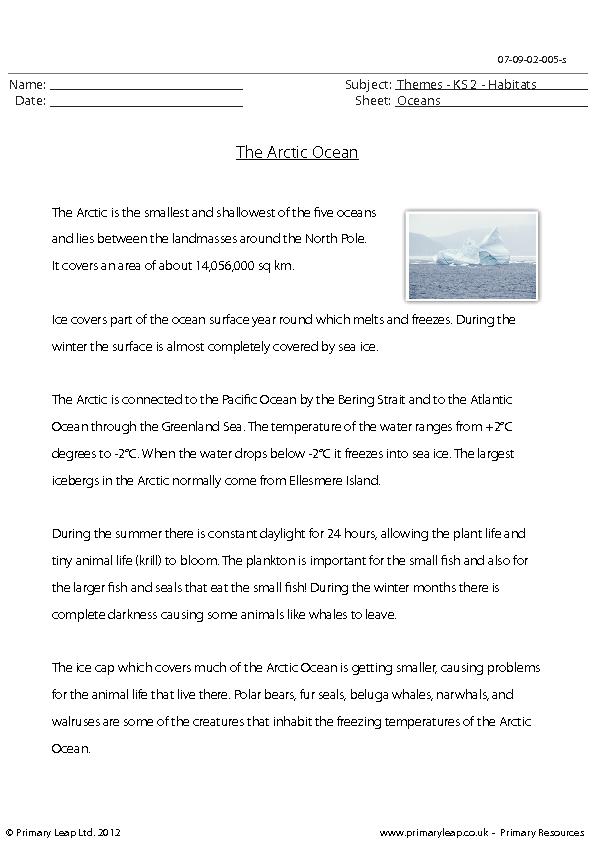 Comprehension - The Arctic Ocean