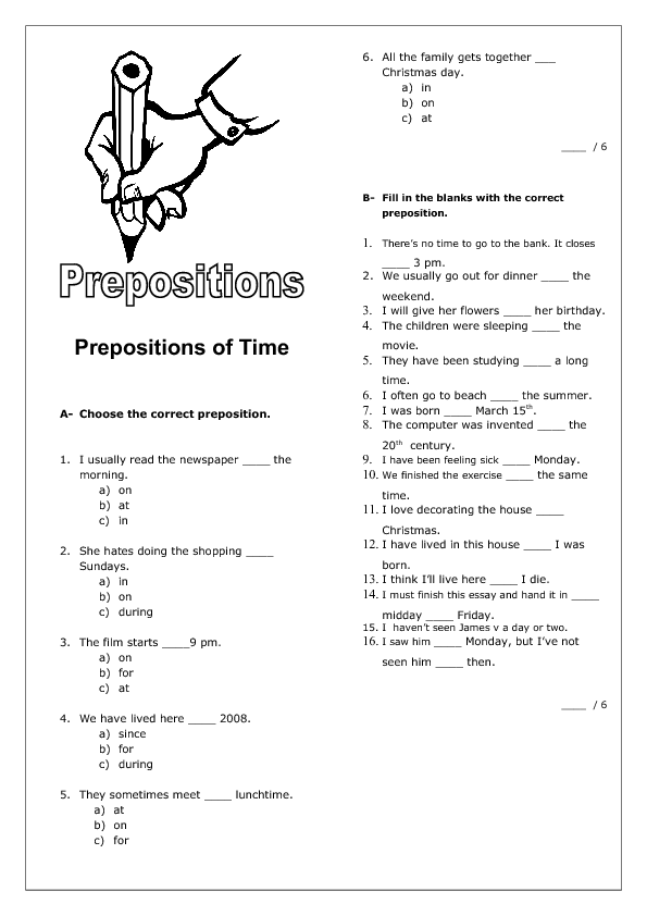 prepositions of time intermediate worksheet. Black Bedroom Furniture Sets. Home Design Ideas