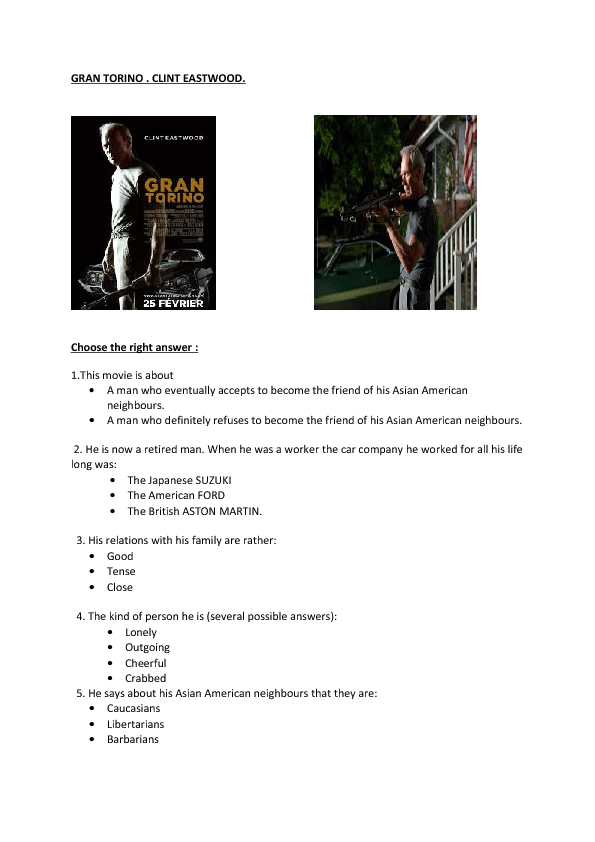 gran torino movie analysys essay Film analysis gran torino sitting on the porch drinking beer, walt kowalski is seen taking care of a most prized possession, a 1972 ford gran torino movie gallery swot analysis in 2006, movie gallery became the second largest north american video rental company.