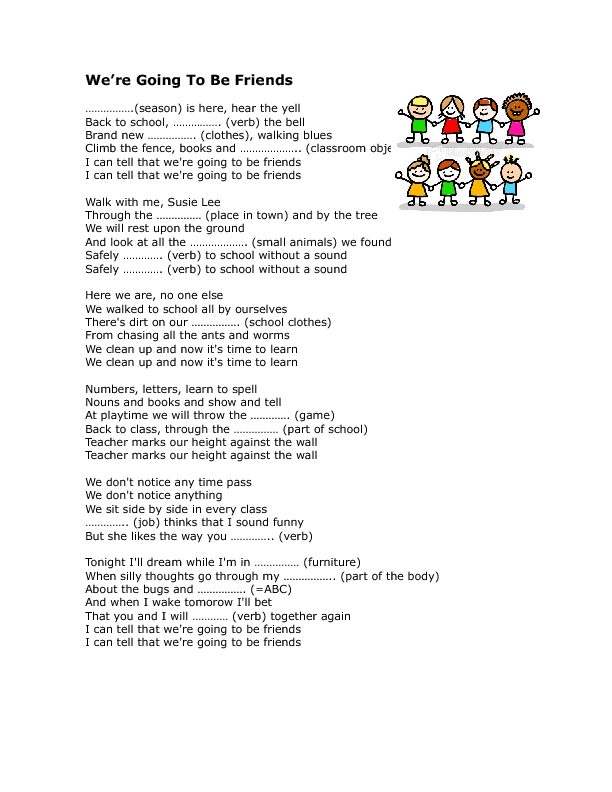 Song Worksheet: We're Going to Be Friends (School and Friendship)