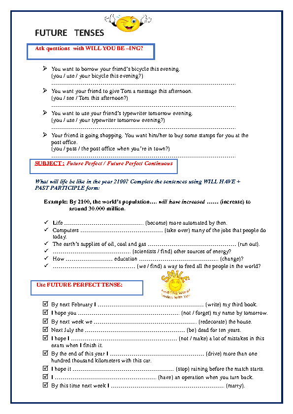 Printable Worksheets spanish future tense practice worksheets : 15 FREE Future Perfect Continuous Worksheets