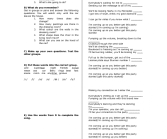 Song Worksheet: Get This Party Started by Pink