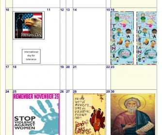 November Calendar 2013