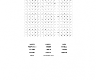 Places in Town- Wordsearch