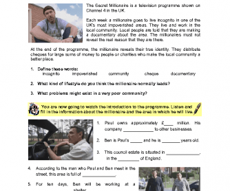 Movie Worksheet: The Secret Millionaire