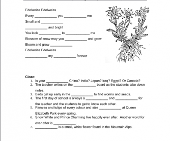 Song Worksheet: Edelweiss from The Sound of Music