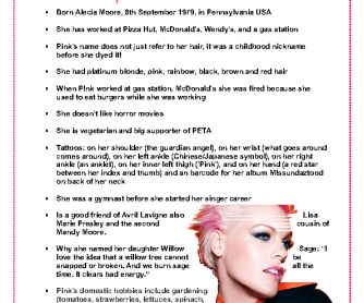 Pink Bio (Fun Facts about Pink)