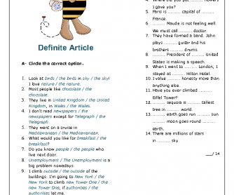 Articles: Definite Article Worksheet