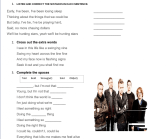 Song Worksheet: Counting Stars