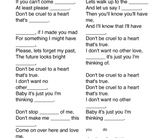 Song Worksheet Don T Be Cruel By Elvis Presley
