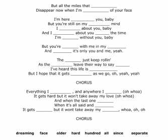 Song Worksheet: Here Without You by 3 Doors Down