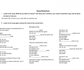 Song Worksheet: He Lives in You
