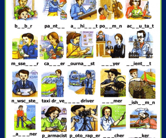 Jobs and Occupations Missing Letters Activity II