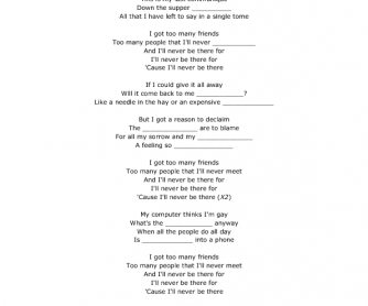 Song Worksheet: Too Many Friends by Placebo