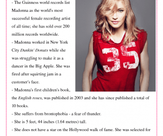 Madonna Bio Worksheet