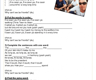 Song Worksheet: Why Can't We Be Friends?