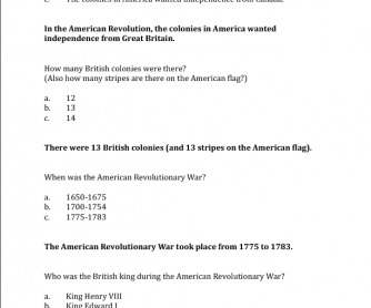 US Revolutionary War Quiz