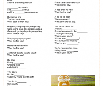 Song Worksheet: What Does the Fox Say by Ylvis