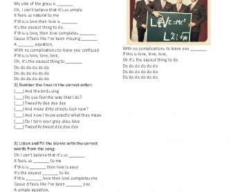 Song Worksheet: Love Is Easy by McFly
