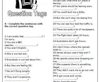 question tags worksheet. Black Bedroom Furniture Sets. Home Design Ideas