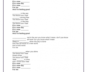 Song Worksheet: Feeling Good by Adam Lambert